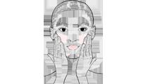 Maske abnehmen, Überschuss mit leichten Streichbewegungen einarbeiten.
