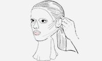 Seitenteile der Maske vorsichtig aufklappen und mithilfe der seitlichen Einschnitte hinter den Ohren fixieren.  Sicherstellen, dass die Aussparungen für Mund und Nase richtig positioniert sind.