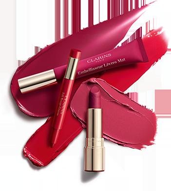 Die drei neuen Produkte der Kollektion: Joli Rouge Crayon, Embellisseur Lèvres Mat und Joli Rouge Velvet