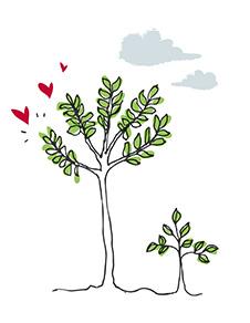 Illustration arbres avec des cœurs